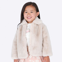Mayoral Girls Faux Fur Coat - Stone