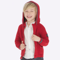 Mayoral Boys Red Knit Hooded Sweater