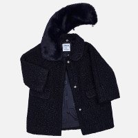 Mayoral Girls Navy Blue Bouclé Coat