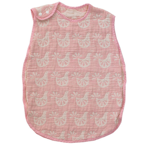 Living Textile - Muslin Sleeping Bag, Pink Bird