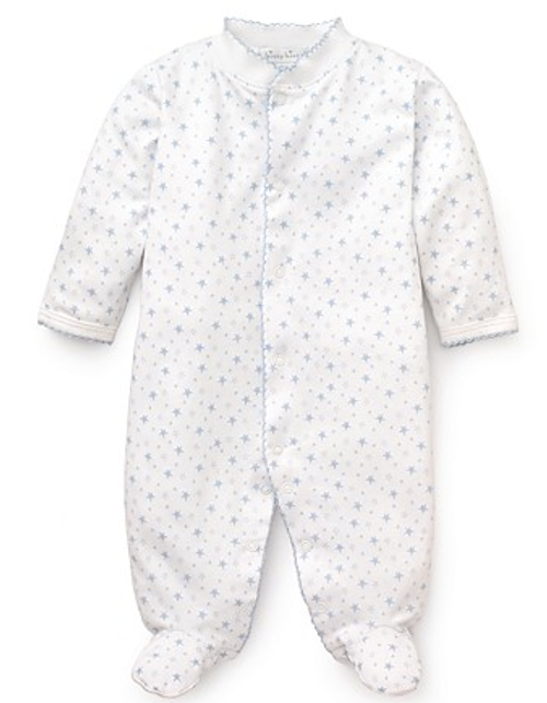 Kissy Kissy 100% Peruvian Pima Cotton Light Blue Hearts & Stars Print Footie