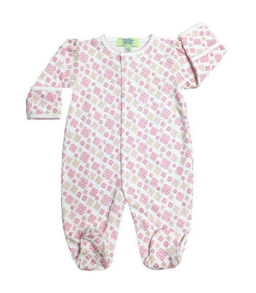 Kissy Kissy 100% Peruvian Pima Cotton QT Bright Blooms Print Footie