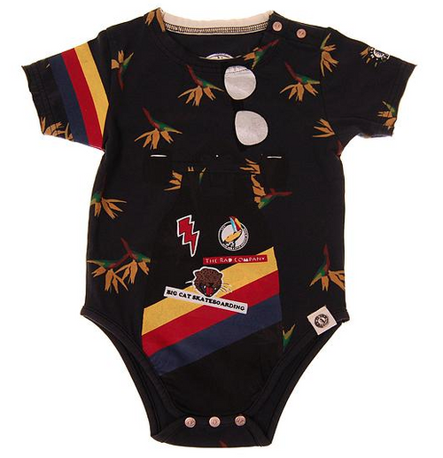 Mini Shatsu Birds of Paradise Skateboard Short Sleeve Bodysuit front