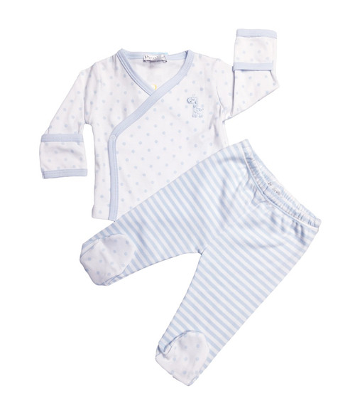 Kissy Kissy 100% Peruvian Pima Cotton Light Blue Fun and Games Dots Footed Pant Set