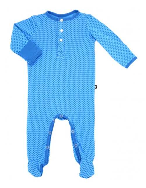 Sweet Bamboo Long Sleeve Footie, Blue Triangle