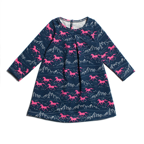 Winter Water Factory Geneva Baby Dress-Wild Horses Navy & Pink