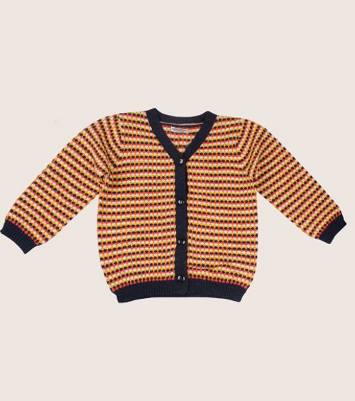 Imps & Elfs Long Sleeve Cardigan, Orange/Navy
