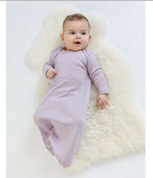 Woolino Infant Baby Girls Gown, Tagless Neck, 100% Superfine Merino Wool, 0-6 Months, Lilac