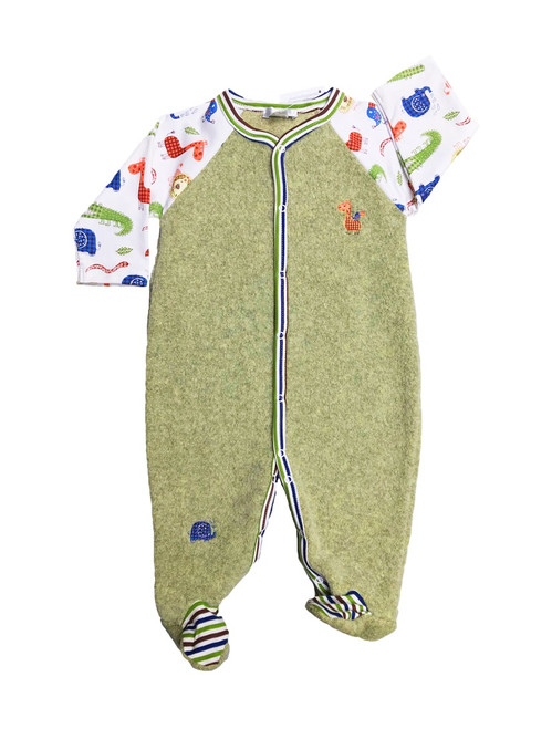 Kissy Kissy 100% Peruvian Pima Cotton Jungle Rumble Sherpa Footie