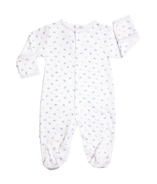 Kissy Kissy 100% Peruvian Pima Cotton Light Blue Royal Baby Print Footie