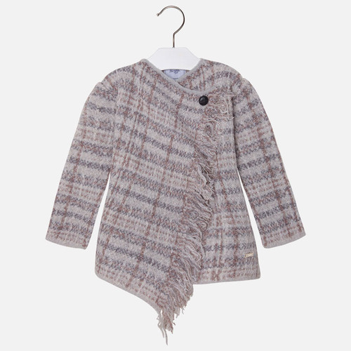 Mayoral Girls Knitted Plaid Cardigan, Mole