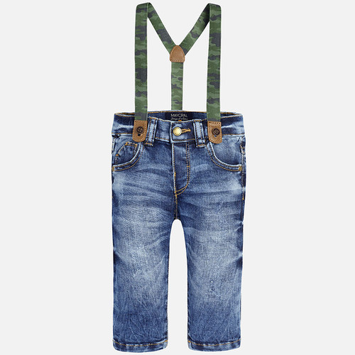 Mayoral Baby Boys Denim Jeans with Suspenders, Basic