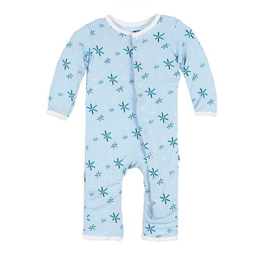 Kickee Pants Print Coverall, Pond Snow