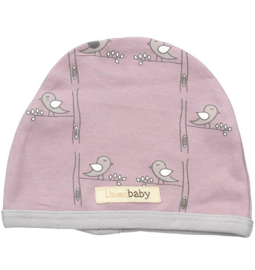 L'OVEDBABY 100% Organic Cotton Cute Cap, Lavender Birds
