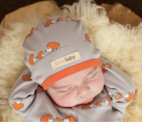 L'OVEDBABY 100% Organic Cotton Cute Cap, Pumpkin Hedgehogs