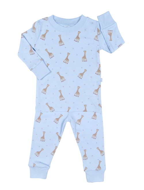 Kissy Kissy 100% Pima Cotton Sophie la girafe Print Pajamas, Light Blue