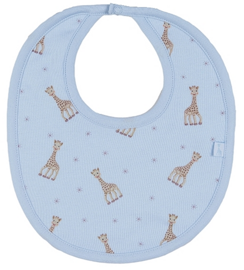 Kissy Kissy 100% Pima Cotton Sophie la girafe Print Bib, Light Blue