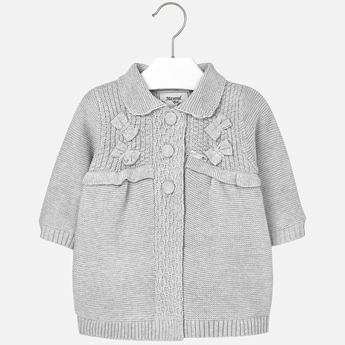 Mayoral Baby Girls Knitted Cardigan, Grey