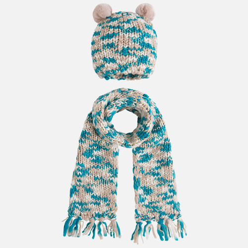 Mayoral Girls Pom Poms Beanie and Scarf Set, Opal