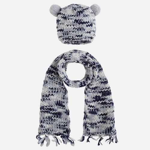Mayoral Girls Pom Poms Beanie and Scarf Set, Indigo