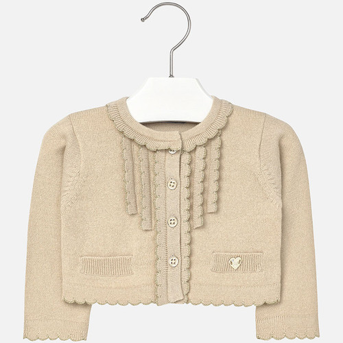 Mayoral Baby Girls Ruffle Bolero Cardigan, Almond