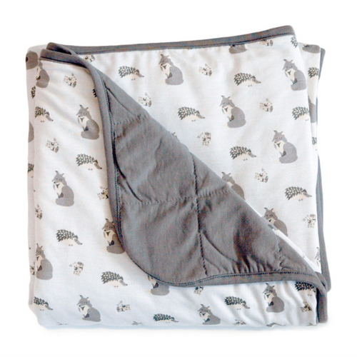 Kyte Baby Quilted Bamboo Print Baby Blanket, Clay/Woodland