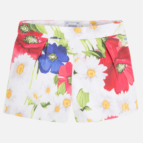 Mayoral Girls Floral Print Shorts, Watermelon