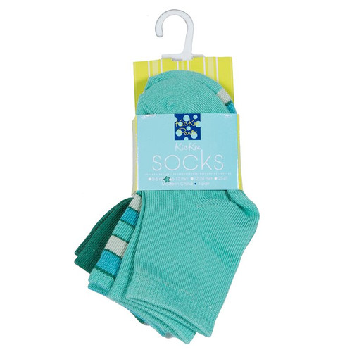 KicKee Pants Sock Set of 3, Shady Glade, Boy Tropical Stripe & Glass