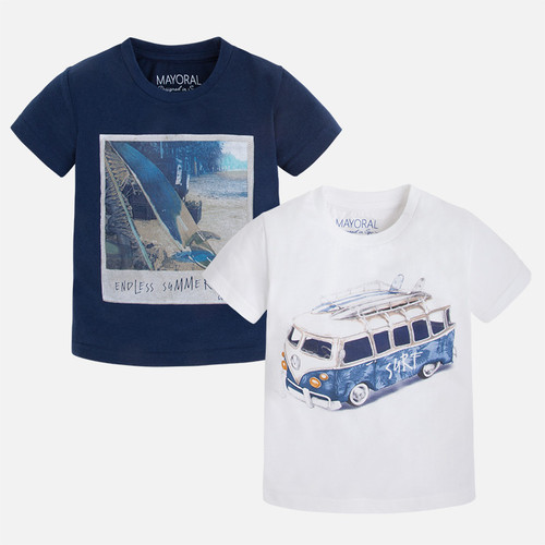 Mayoral Boy short sleeve print t-shirts, Blue