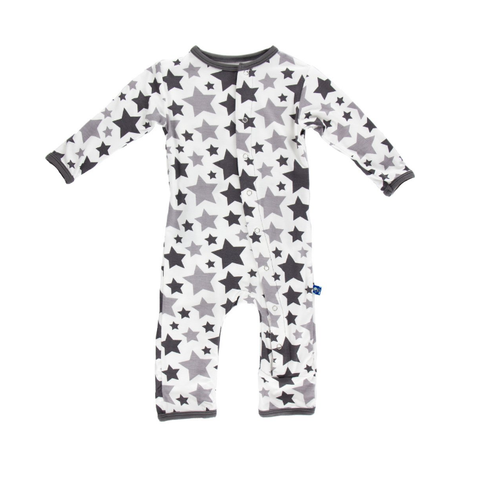 Kickee Pants Essentials Print Coverall, Feather/Rain Stars