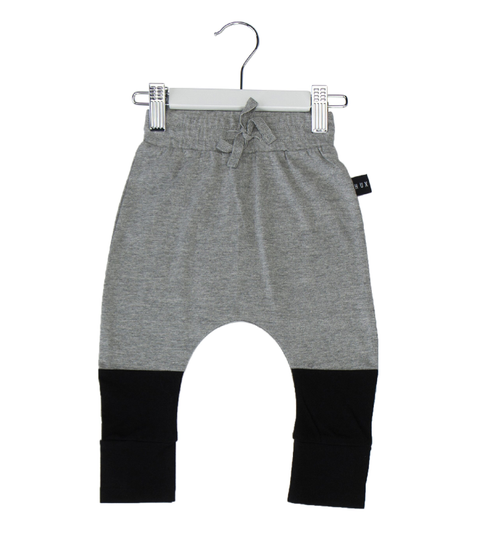 Huxbaby Organic Cotton Colour Block Drop Crotch Pant, Grey Marle & Black