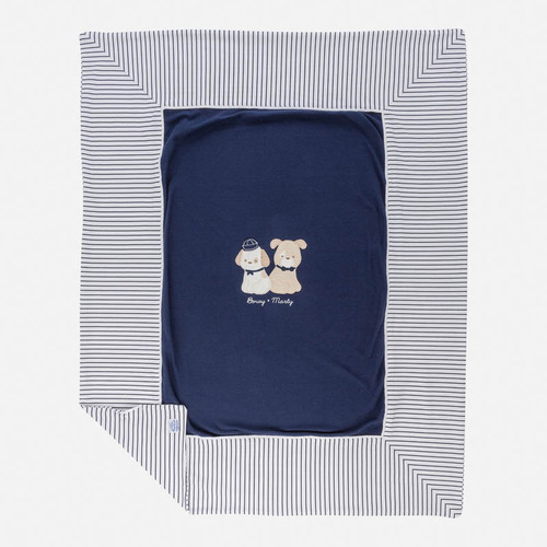 Mayoral Baby blanket with embroidered applique, Navy