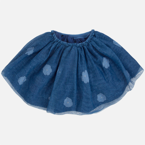 Mayoral Girls Floral Tulle Skirt, Blue