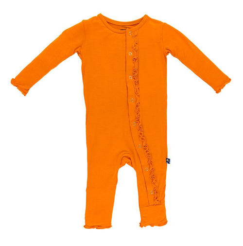 Kickee Pants Fitted Muffin Ruffle Coverall, Sunset