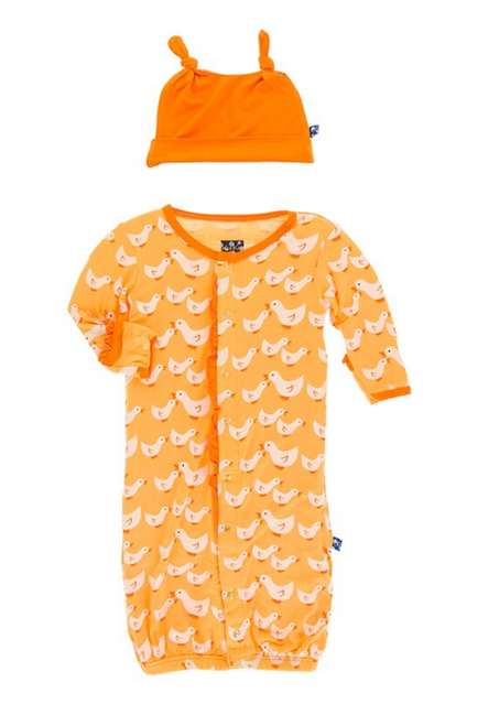 Kickee Pants Ruffle Layette Gown Converter & Ruffle Knot Hat Set, Fuzzy Bee Duckies