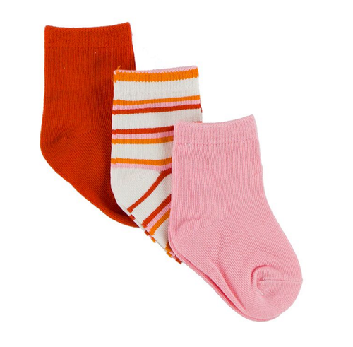 KicKee Pants Sock Set of 3, Poppy, Girl Fresh Water Stripe & Lotus