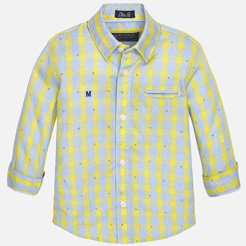 Mayoral Baby boy long sleeve checked shirt, Banana
