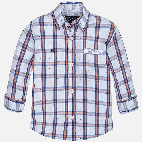 Mayoral Baby boy long sleeve checked shirt, Clementine