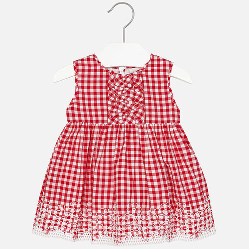 Mayoral Baby girl guingham dress with ruffles, Red