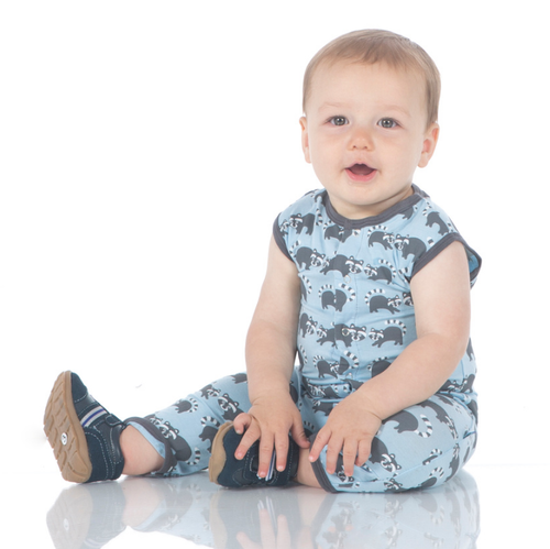 Kickee Pants Print Tank Coverall, Pond Raccoon