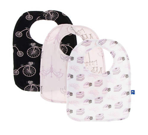 Kickee Pants Bib Set of 3 - Girl Midnight Bikes, Macaroon Chandelier & Natural Sweet Treats