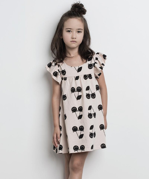 Huxbaby Organic Cotton Cherry Cat Frill Dress