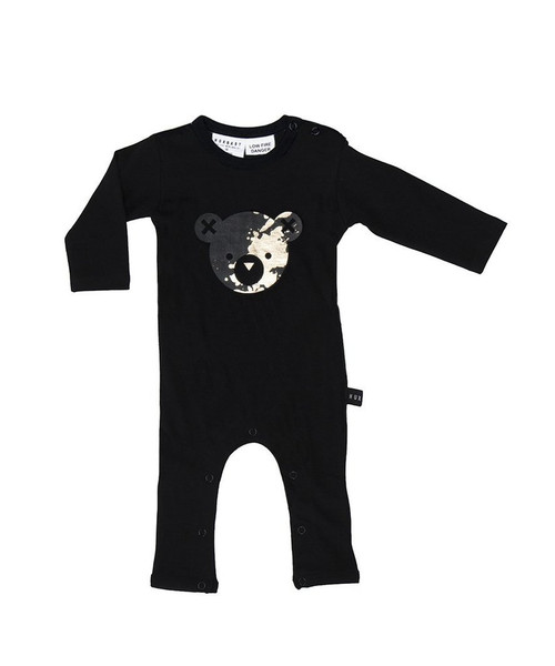 Huxbaby Organic Cotton Splash Bear Long Romper