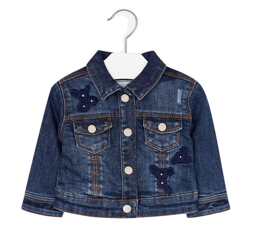 Mayoral Baby Girls Embroidered Denim Jacket, Dark