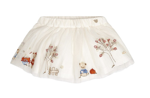 Mayoral Baby Girls Embroidered Tulle Skirt, Natural