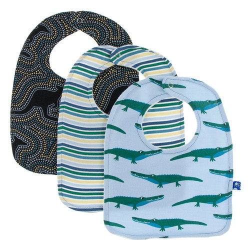 Kickee Pants Bib Set of 3 - Pond Crocodile, Boy Perth Stripe, & Midnight Kangaroo
