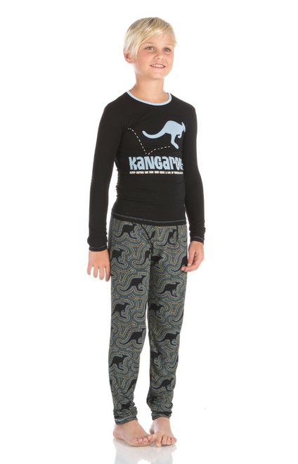 Kickee Pants Print Long Sleeve Pajama Set - Midnight Kangaroo
