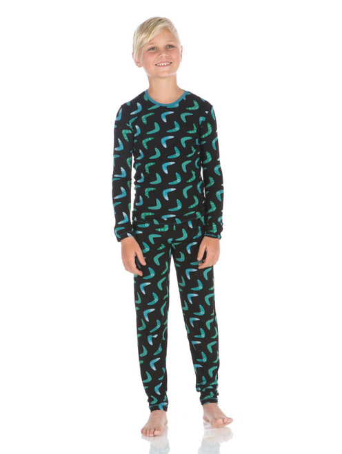 Kickee Pants Print Long Sleeve Pajama Set - Midnight Boomerang