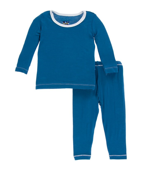 Kickee Pants Solid Long Sleeve Pajama Set - Twilight with Natural