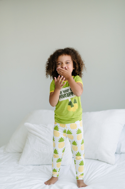 Kickee Pants Print Short Sleeve Pajama Set with Pants - Natural Pineapple